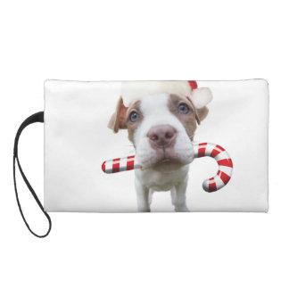 Christmas pitbull - santa pitbull -santa claus dog wristlet