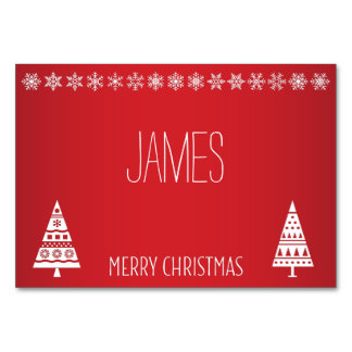 Christmas Place Cards With White Snowflakes Table Card