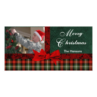 Christmas Plaid Custom Personalized Picture Picture Card