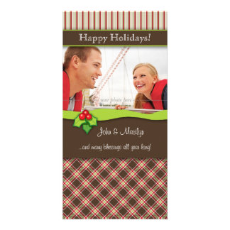 Christmas Plaid Family Photo Card couple