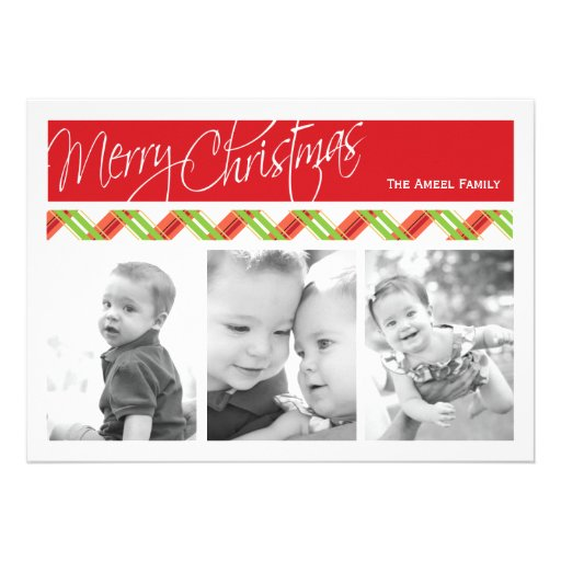 Christmas Plaid  |  Holiday 3 Photo Card Announcement