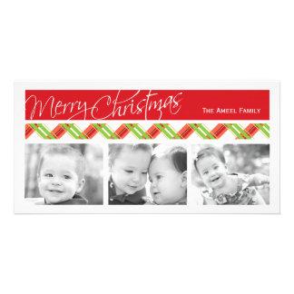 Christmas Plaid  |  Holiday Three Photo Card