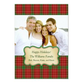 Christmas Plaid Photo Card Custom Invitation