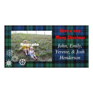 Christmas Plaid Photocard Custom Photo Card
