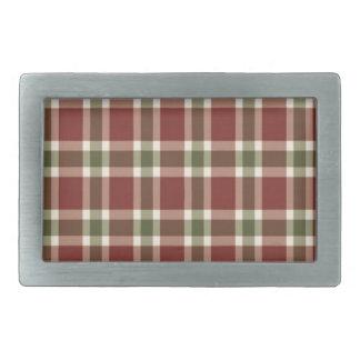 christmas-plaid- rectangular belt buckles