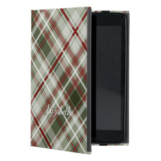 Christmas plaid red green white iPad mini cover