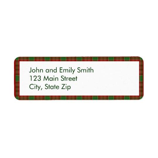 Christmas Plaid Return Address Labels