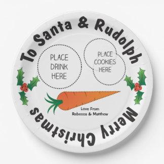 Christmas Plate Santa & Rudolph Personalised Kids 9 Inch Paper Plate