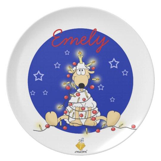 """christmas plate with name for kids """"SHEEP """""""
