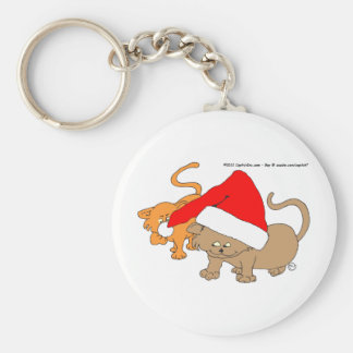 Christmas Playful Kitties in Santa Hat Basic Round Button Key Ring