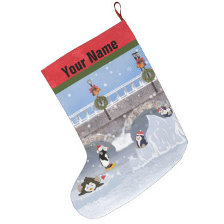 Christmas, Playful Penguins on Frozen Lake Large Christmas Stocking