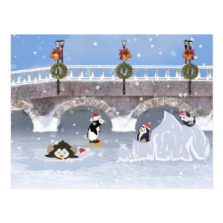 Christmas, Playful Penguins on Frozen Lake Postcard