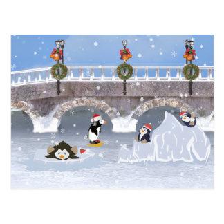 Christmas, Playful Penguins on Frozen Lake Postcard