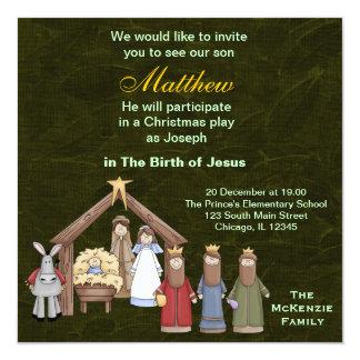 "Christmas Plays 5.25"" Square Invitation Card"