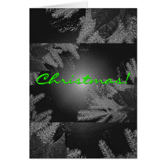 Christmas Poinsettia Black And Grey In English Greeting Card