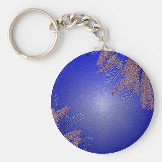 Christmas Poinsettia Blue Basic Round Button Key Ring