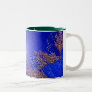 Christmas Poinsettia Blue II Coffee Mugs