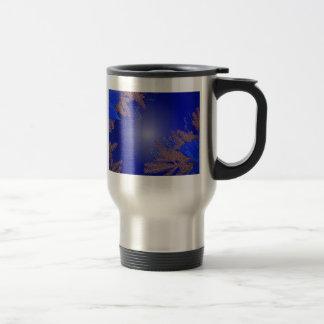 Christmas Poinsettia Blue V Coffee Mugs