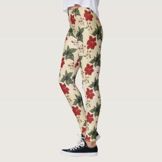 Christmas Poinsettia Design Leggings