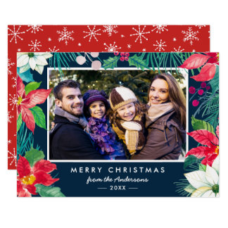 Christmas Poinsettia Floral Family Photo Holiday Card