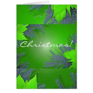 Christmas Poinsettia Green In English Greeting Card