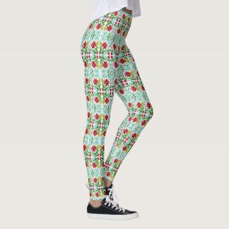 Christmas Poinsettia Leggings Women's Stretch