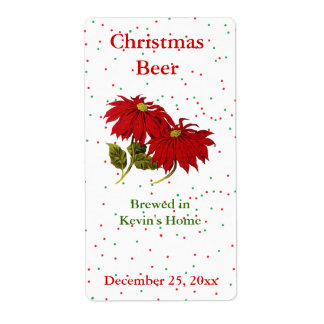 Christmas Poinsettia Mini Beer Label Shipping Label