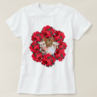 Christmas Poinsettia Photo Frame T-Shirt