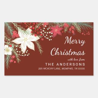 Christmas Poinsettia & Pine Foliage Return Address Rectangular Sticker