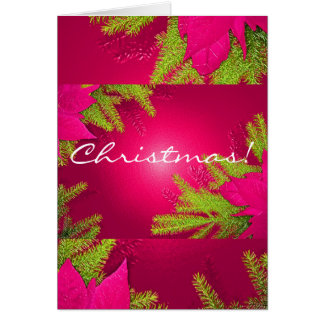 Christmas Poinsettia Pink And Green In English Greeting Card
