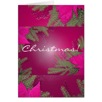 Christmas Poinsettia Pink In English Greeting Card
