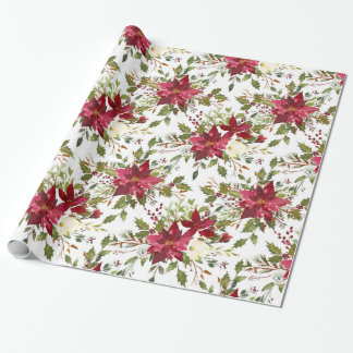 Christmas Poinsettia Red Elegant Holiday Floral Wrapping Paper