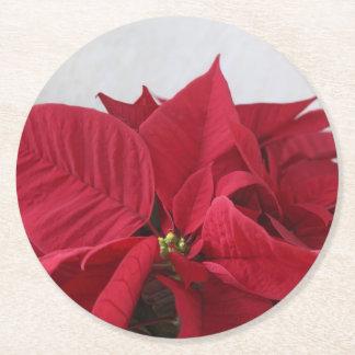 Christmas poinsettia round paper coaster