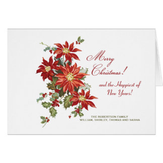 Christmas Poinsettias (H) Folded Holiday Photo Car Greeting Card