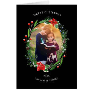 Christmas Poinsettias Holly and Juniper Floral Card