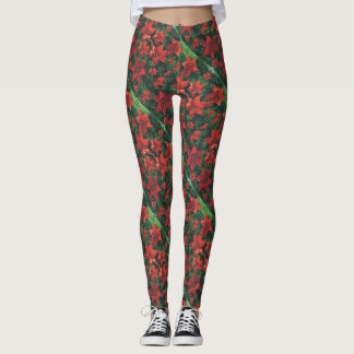Christmas Poinsettias Leggings