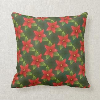 Christmas Poinsettias MoJo Throw Pillow Cushions