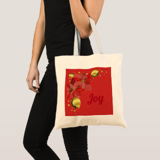 Christmas poinsettias red holiday budget tote