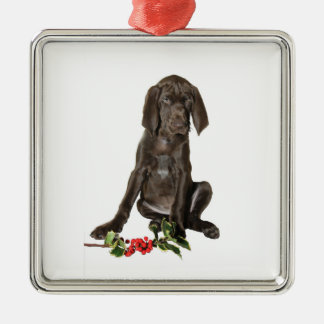 Christmas Pointer Puppy Metal Ornament