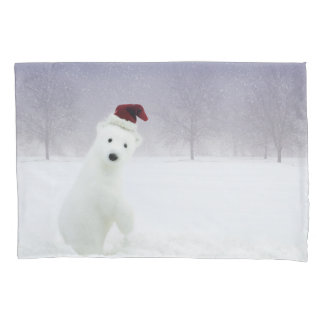 Christmas Polar Bear (1 side) Pillowcase