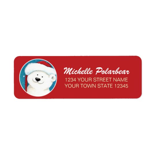 Christmas Polar Bear Return Address Labels