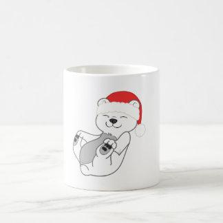 Christmas Polar Bear with Red Santa Hat Basic White Mug