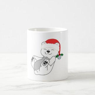 Christmas Polar Bear with Santa Hat & Jingle Bell Basic White Mug