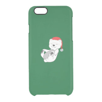 Christmas Polar Bear with Santa Hat & Jingle Bell Clear iPhone 6/6S Case