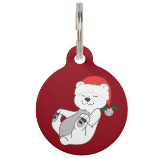 Christmas Polar Bear with Santa Hat & Jingle Bell Pet Nametags