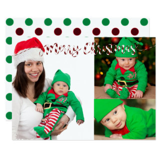 Christmas Polka dots & Stripes 3 Photo Card