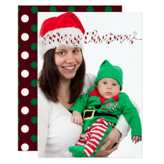Christmas Polka dots & Stripes Photo Card