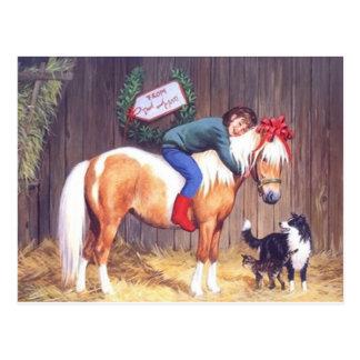 Christmas Pony Present Postcard