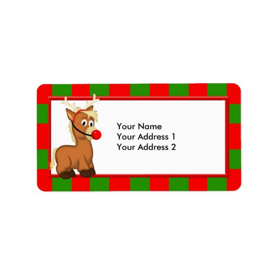 Christmas Pony with Reindeer Antlers and Nose Label