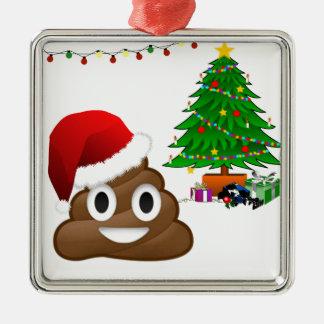 christmas poo emoji metal ornament